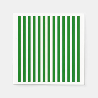 Candy Cane Stripes in Christmas Green & Snow White Paper Napkin