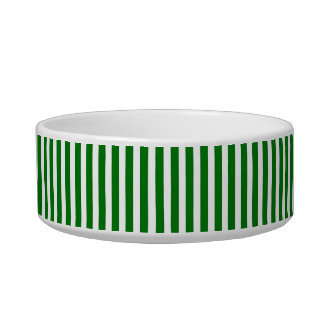 Candy Cane Stripes in Christmas Green & Snow White Pet Bowls