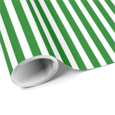Aztec Themed Candy Cane Stripes in Christmas Green & Snow White Wrapping Paper