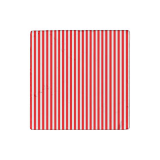 Candy Cane Stripes in Christmas Red and Snow White Stone Magnet