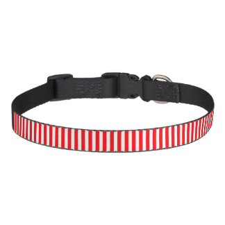 Candy Cane Stripes in Christmas Red and Snow White Pet Collars