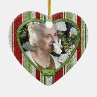 Candy Cane Stripes Memorial Heart Photo Christmas Christmas Ornament
