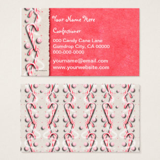 Candy Cane Stripes Red White Business Card