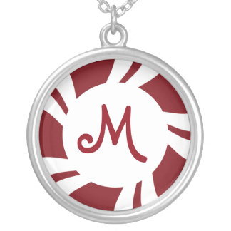 Candy Cane Stripes Red White Monogram Silver Plated Necklace