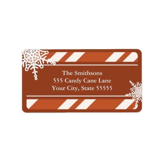 Candy Cane Stripes Snowflake Address Label