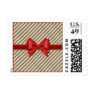Candy Cane Stripes with Bow Postage