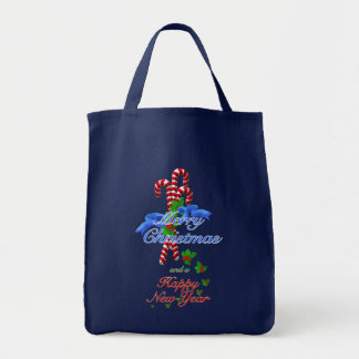 Candy Cane Surprise Christmas Grocery Tote Bags