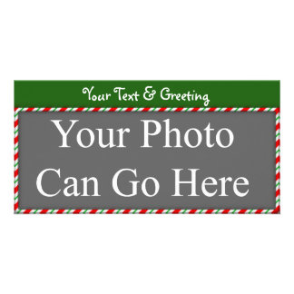Candy Cane Sweet Red White Green Christmas Design Photo Card Template
