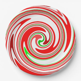 Candy Cane Swirl Red White Green Festive 9 Inch Paper Plate