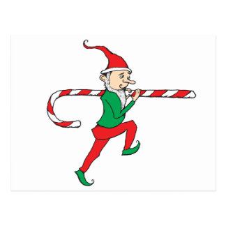 Candy Cane Thief Gnome Postcard
