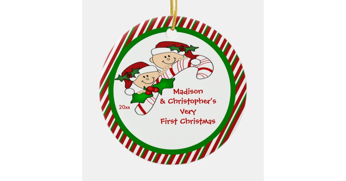 Candy Cane Twin S First Christmas Ornament Zazzle Com