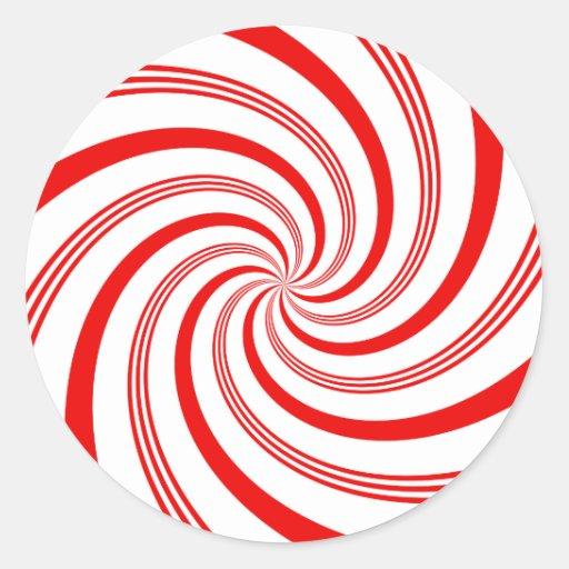 Candy Cane Twirl Round Stickers
