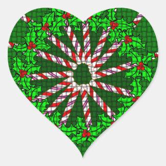 Candy Cane Weave Heart Sticker