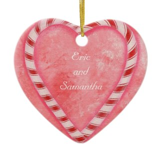 Candy Cane Wedding Heart Ornament, Personalized ornament