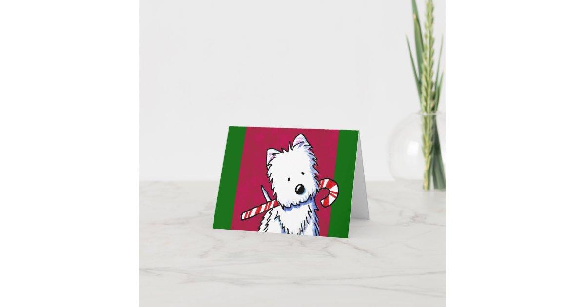 Candy Cane Westie Christmas Card | Zazzle.com