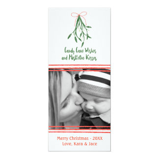 Candy cane wishes and mistletoe kisses card