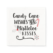 candy cane wishes and mistletoe kisses paper napkin