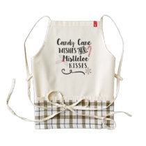 candy cane wishes and mistletoe kisses zazzle HEART apron