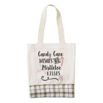 candy cane wishes and mistletoe kisses zazzle HEART tote bag