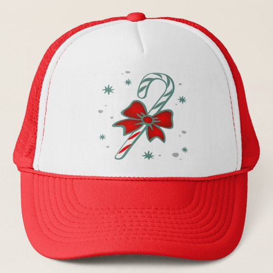 candy cane with bow  Apparel Trucker Hat
