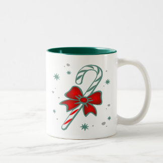 candy cane with bow gifts Two-Tone coffee mug