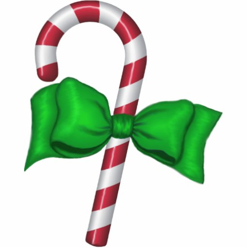 Candy Cane with Bow Ornament Photo Cutouts
