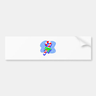 Candy Cane with green bow Car Bumper Sticker