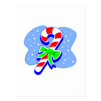 Candy Cane with green bow Postcard