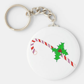 Candy Cane with Holly Design on Keychain