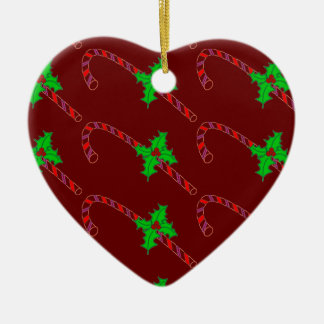 Candy Cane with Holly Stickers Ceramic Ornament