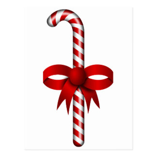 Candy Cane with Red Ribbon Bow Tied Around It Postcard