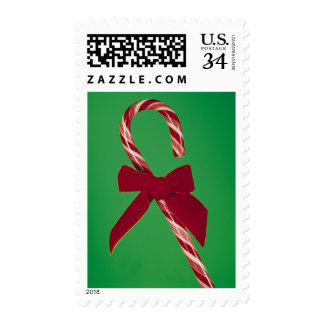 Candy cane with ribbon postage
