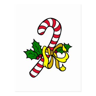 Candy Cane with yellow bow Postcard