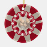 Candy Cane Wreath Double-Sided Ceramic Round Christmas Ornament