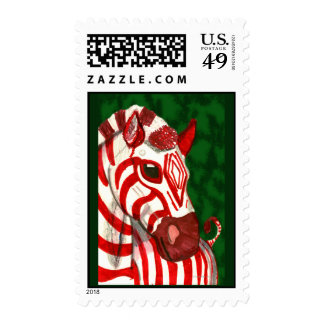 Candy Cane Zebra Christmas Stamps