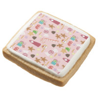 Candy Canes and Chocolates on Pink Square Shortbread Cookie
