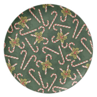 Candy Canes And Holly Dinner Plate