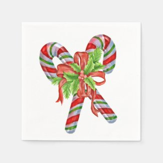 Candy Canes and Holly Napkin