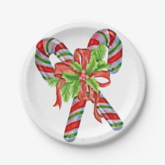 Candy canes and holly paper plate