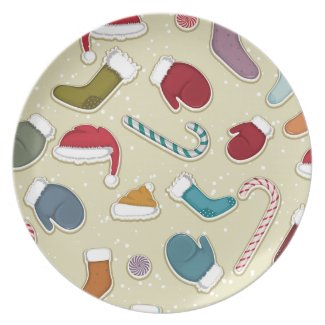 Candy Canes and Mittens Dinner Plate