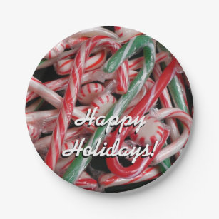 Candy Canes and Peppermints Christmas Holiday Paper Plate & Candy Cane Plates | Zazzle