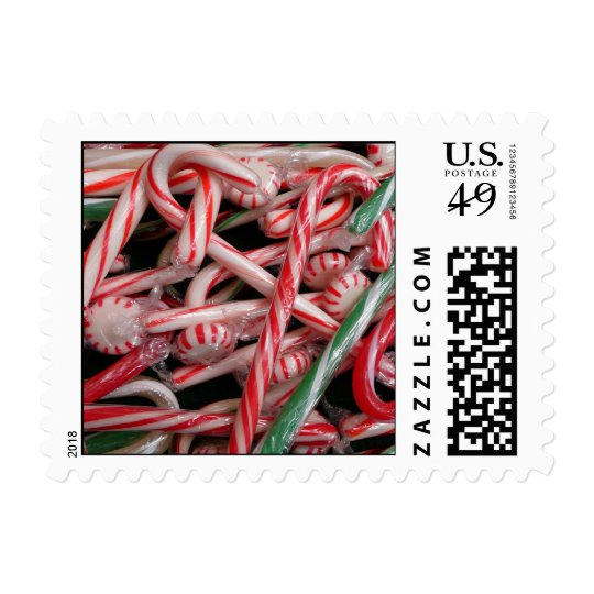 Candy Canes and Peppermints Christmas Holiday Postage