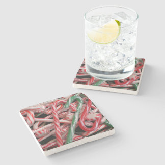Candy Canes and Peppermints Christmas Holiday Stone Coaster