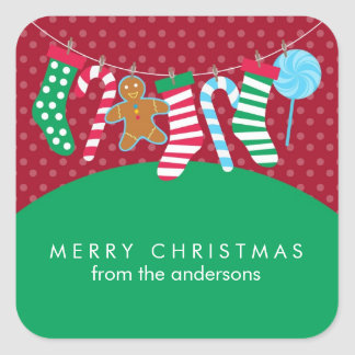 Candy Canes and Stockings Christmas Square Sticker