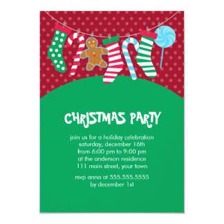 Candy Canes and Stockings Holiday Party Card