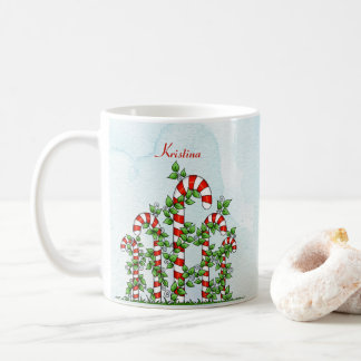 Candy Canes and Vines Christmas Mug