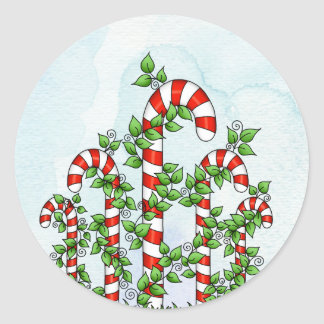Candy Canes and Vines Christmas Sticker
