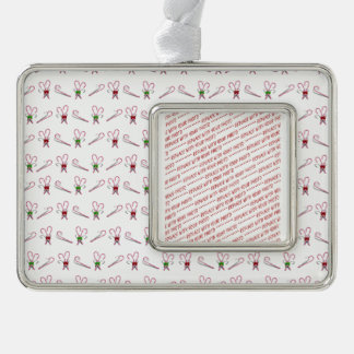 Candy Canes Background Silver Plated Framed Ornament
