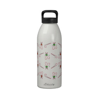 Candy Canes Background Reusable Water Bottle