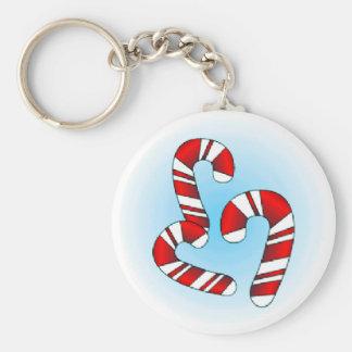 Candy Canes Basic Round Button Keychain